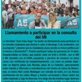 """El Grupo Municipal Cs Getxo se muestra preocupado ante la posibilidad de que la consulta de """"GURE ESKU DAGO""""  pueda generar crispación."""