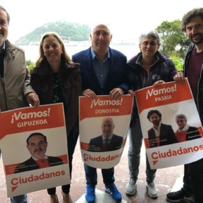 Comienzo de la campaña de Ciudadanos en Gipuzkoa con sus candidatos reunidos en los jardines del Palacio Miramar